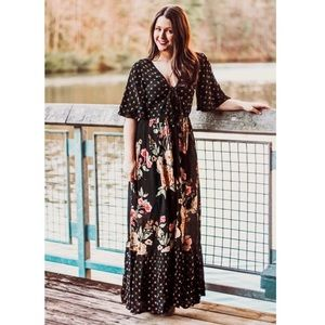 Altar'd State Black Beaded Floral Boho Maxi Dress